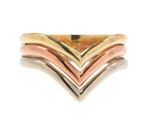 Pre-Owned 9ct Tri Colour Gold Chevron Ring