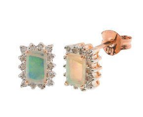 9ct Rose Gold 0.30ct Opal & 0.15ct Diamond Cluster Earrings