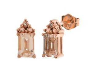 9ct Rose Gold 0.80ct Morganite & DIamond Earrings