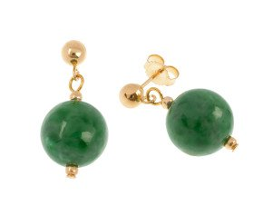 9ct Gold 10mm Jade Drop Earrings