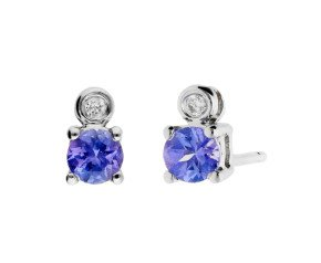 9ct White Gold 0.20ct Tanzanite & Diamond Stud Earrings