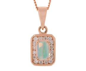9ct Rose Gold 0.30ct Opal & 0.30ct Diamond Cluster Pendant