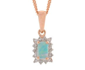 9ct Rose Gold 0.15ct Opal & Diamond Pendant