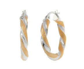18ct Yellow & White Gold Twisted Creole Earrings