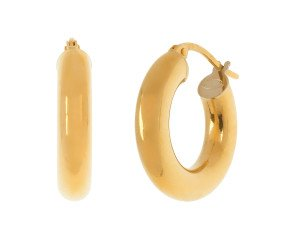 18ct Yellow Gold Tube Hoop Earrings