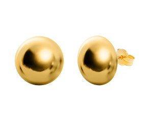 18ct Yellow Gold 12mm Round Stud Earrings