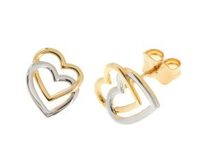 9ct Yellow & White Gold Double Heart Stud Earrings