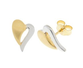 9ct Yellow & White Gold Heart Stud Earrings