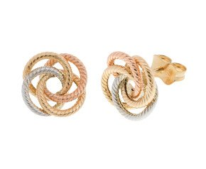 9ct Yellow, White & Rose Gold Knot Earrings