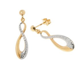 9ct White & Yellow Gold Infinity Drop Earrings