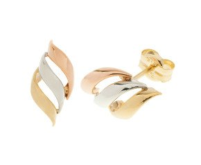 9ct Yellow, White & Rose Gold Fancy Stud Earrings
