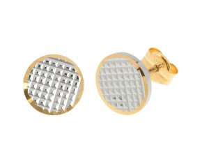 18ct Yellow & White Gold Disc Stud Earrings