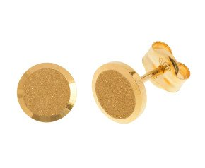 18ct Yellow Gold Satin Disc Stud Earrings