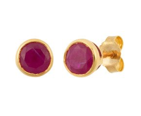 9ct Yellow Gold 1.20ct Round Ruby Solitaire Stud Earrings