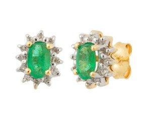 9ct Yellow Gold 0.50ct Emerald & Diamond Cluster Stud Earrings