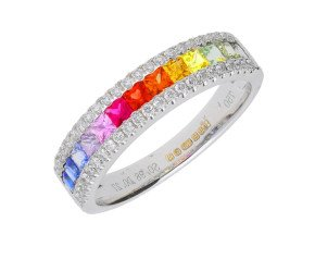 18ct White Gold 1ct Rainbow Sapphire & 0.25ct Diamond Dress Ring