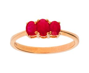 9ct Rose Gold 0.50ct Ruby Three-stone Dress Ring