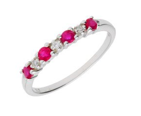 9ct White Gold 0.20ct Ruby & 0.10ct Diamond Half Eternity Ring