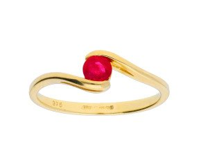 9ct Yellow Gold Round Ruby Fancy Solitaire Ring