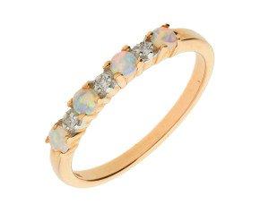 9ct Rose Gold Opal & Diamond Eternity Ring