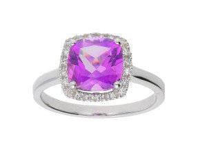 9ct White Gold Amethyst & Diamond Halo Ring