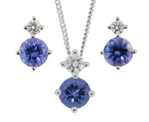 9ct White Gold 0.90ct Tanzanite & 0.20ct Diamond Pendant & Earrings Jewellery Set