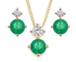 9ct Yellow Gold 0.45ct Emerald & Diamond Pendant & Earrings Jewellery Set