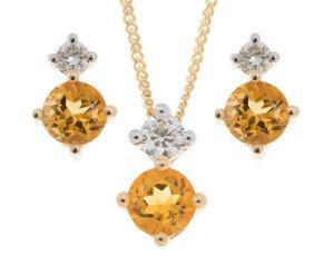 9ct Yellow Gold 0.60ct Citrine & Diamond Pendant & Earrings Jewellery Set