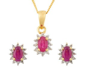 9ct Yellow Gold 1.05ct Ruby & Diamond Cluster Earrings & Pendant Jewellery Set