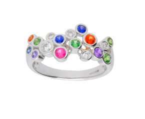18ct White Gold 0.70ct Rainbow Sapphire & 0.20ct Diamond Fancy Bubble Cocktail Ring
