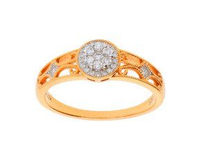 18ct Rose Gold 0.15ct Diamond Cluster Ring