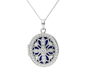 Silver & Cubic Zirconia Oval Locket
