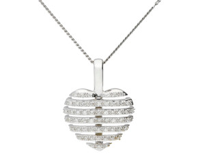 9ct White Gold Split Diamond Heart Pendant