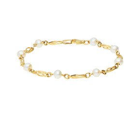9ct Yellow Gold Freshwater Pearl Celtic Twist Bracelet