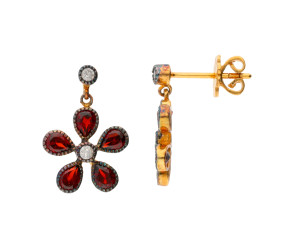 Georgian Inspired Garnet & Diamond Flower Drop Earrings