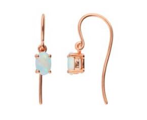 9ct Rose Gold 0.60ct Oval Opal Drop Earrings