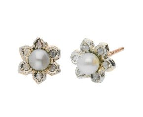 Handcrafted Italian Cultured Pearl & Diamond Floral Cluster Earrings