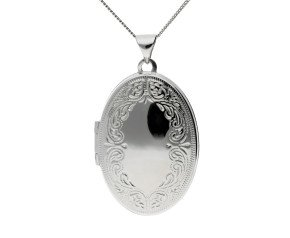 Sterling Silver Intricate Border Oval Locket
