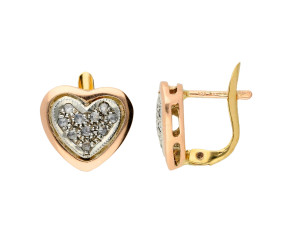 Handcrafted Italian 0.50ct Diamond Heart Cluster Earrings