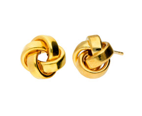 9ct Yellow Gold Large Knot Stud Earrings