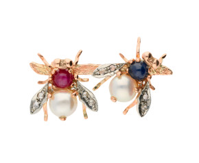 Handcrafted Italian 9ct Rose Gold Ruby, Sapphire, Pearl & Diamond Bee Brooch