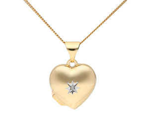 9ct Yellow Gold Small Diamond Heart Locket