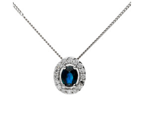 9ct White Gold Sapphire & Diamond Halo Pendant