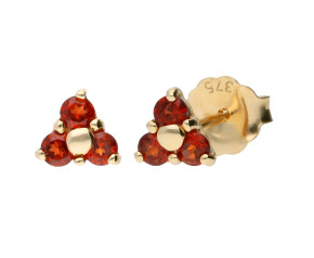9ct Yellow Gold 0.25ct Garnet Floral Cluster Earrings
