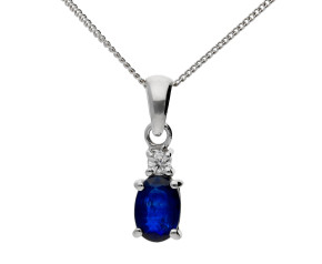 9ct White Gold 0.55ct Sapphire & Diamond Drop Pendant