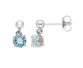 9ct White Gold 5mm Aquamarine Solitaire Round Shape Drop Earrings