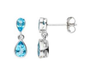 9ct White Gold Swiss Blue Topaz  Pear Shape Double Drop Earrings