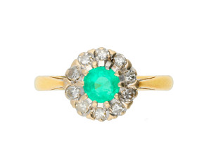 Vintage 1960's 18ct Gold 0.40ct Emerald & Diamond Cluster Ring