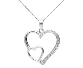9ct White Gold 0.05ct Diamond Double Heart Pendant