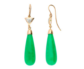 Handcrafted Italian Jade & Diamond Drop Earrings